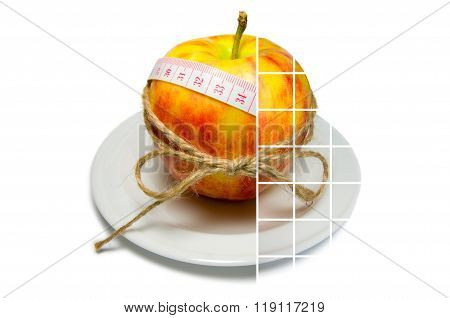 Collage Of Apple Surrounding Of Measuring Tape Tied With Twine With Large Transparent Squares
