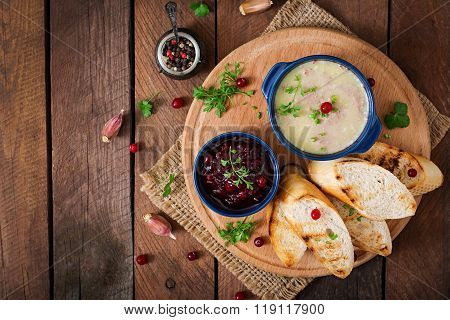 Chicken Liver Pate With Cranberry Sauce, Served With Croutons. Top View