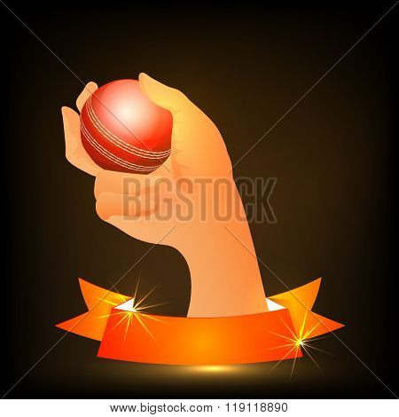 Creative illustration of bowler hand holding ball with glossy blank ribbon for Cricket Sports concept.