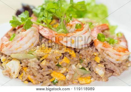 Close Up Of Shrimp Fried Rice,selective Focus