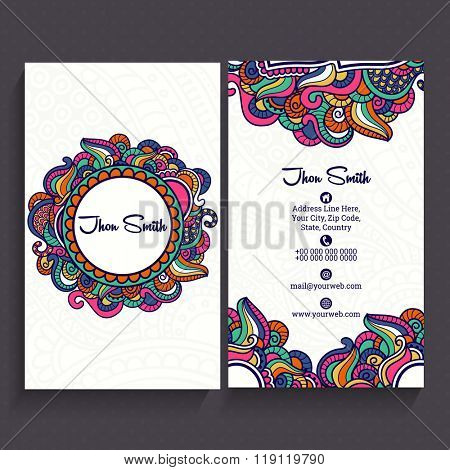 Colorful floral design decorated, Vertical Business Card, Name Card or Visiting Card set with front and back presentation.
