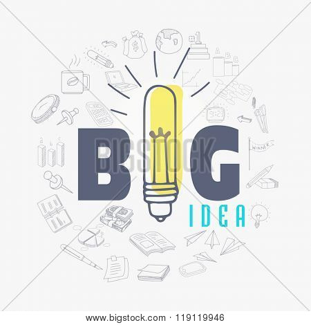 Creative Business Infographic elements for Idea concept with illustration of electric CFL.