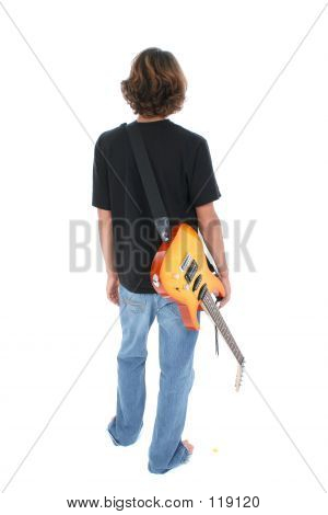 Back Side Of Teen Boy With Electric Guitar Over White