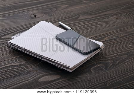 The Workplace Black Smart Phone With Notebook