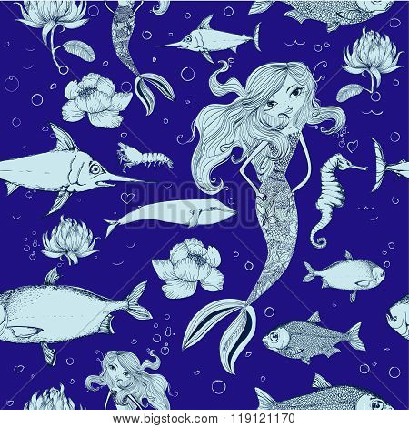 seamless pattern with fish and mermaid