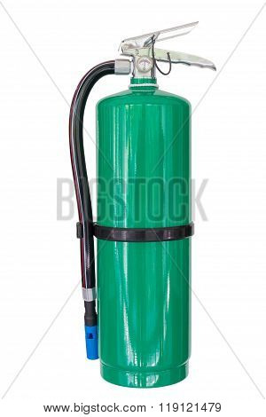 Green Chemical Fire Extinguishers Isolated On White Background
