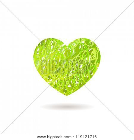 Hand drawn Heart symbol. Vector calligraphy Green Heart. Grunge Heart. Heart Shape. Heart Texture. Valentine's Day Heart. March 8 Women's Day. Brush Stroke Heart. Lines Heart Background