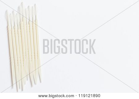 Oral Device : Toothpick On White Paper Background