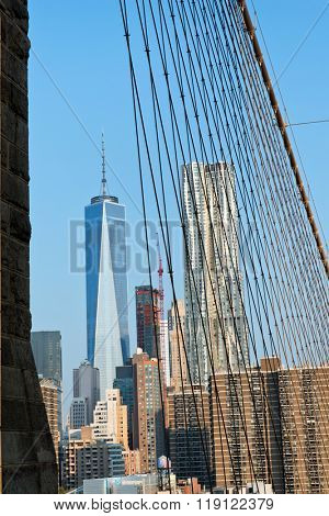 View of One World Trade Center Building Amongst Manhattan Skyscrapers as seen from Brooklyn Bridge, New York City, New York, USA
