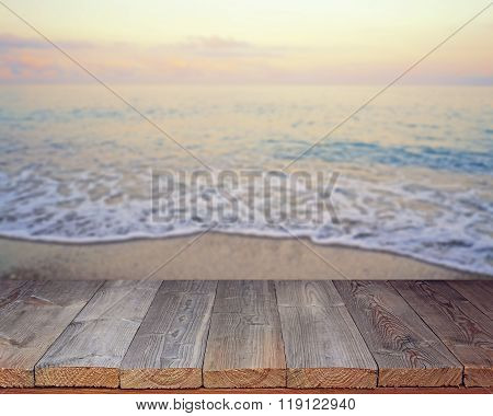Empty Wooden Flooring Against A Summer Decline.