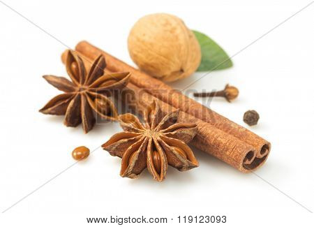 cinnamon sticks and anise star on white background