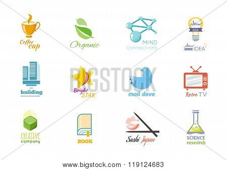 Set of Logo Design Flat Icon Isolated