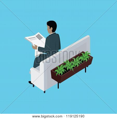 Isometric Man Reading Newspaper Design Flat