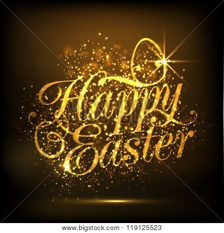Elegant greeting card design with sparkling golden text Happy Easter on shiny brown background.
