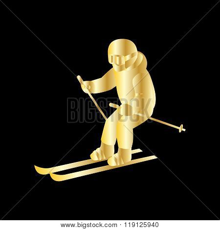 People Skiing Flat Style Design