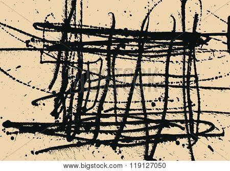 Splatter Black Ink Construction Background.