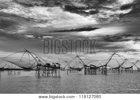 Thai Style Fishing Trap In Thailand.