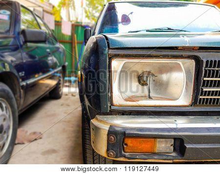 crashed headlight old car