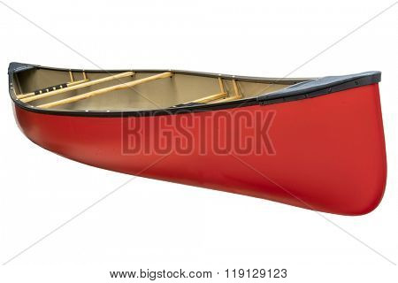 red tandem canoe with wood seats isolated on white with a clipping path