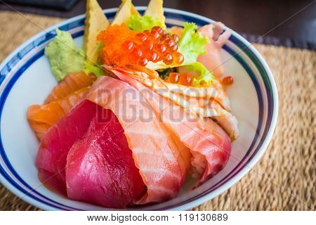 Tekka donburi japanese fresh raw food with rice