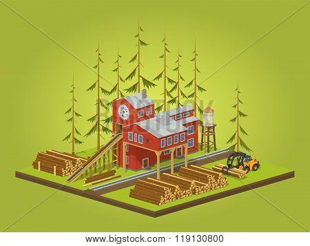 Lumber mill. Sawmill building