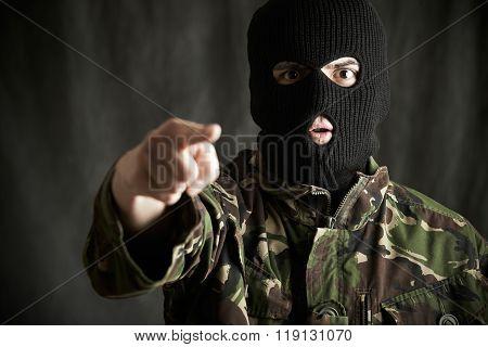 Portrait Of Terrorist Addressing Camera