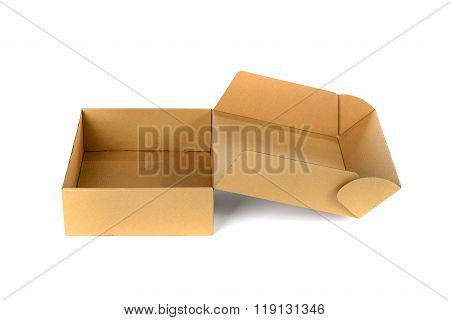 Open Cardboard Box Or Brown Paper Box Isolated With Soft Shadow On White Background