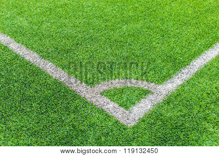 The Football Field Corner With Artificial Grass
