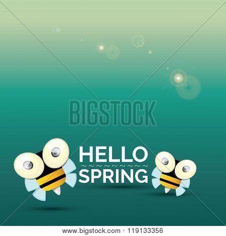 Hello spring . cartoon cute bright baby bee icon