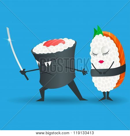 Samurai vector sushi cartoon character illustration. Japanese food. Sushi set. Logo sushi