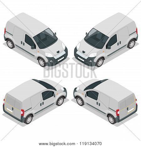 Set of icons small truck for transportation cargo. Van for the carriage of cargo. Delivery car. Vect