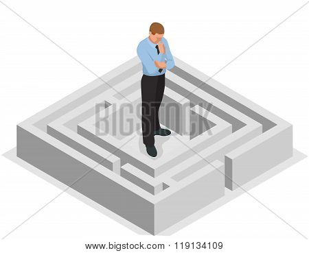 Various ways. Solving problems. Businessman finding the solution of a maze. Business concept. Vector