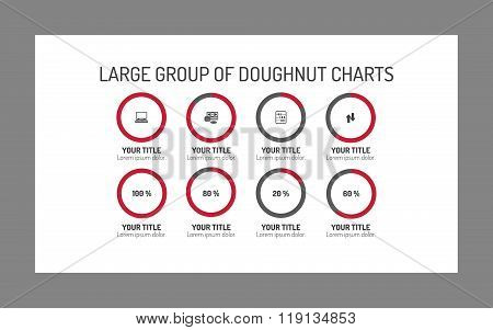Large group of doughnut charts