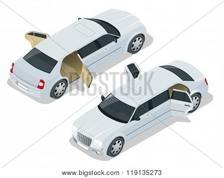 White limousine with open doors. VIP car. Vector isometric illustration. Limousine icon, sign. Moder