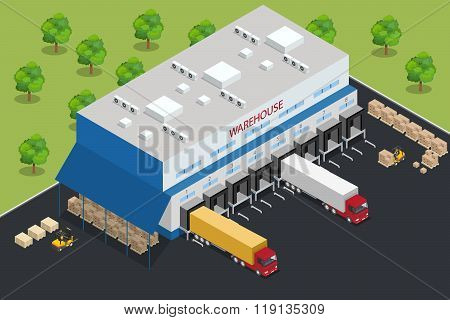 Warehouse equipment. Shipping and delivery flat elements