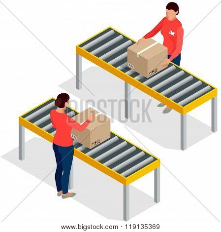 Worker goods packaging with boxes at packing line in factory.