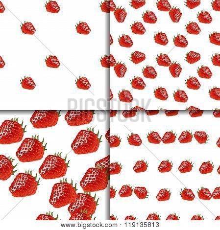 Seamless pattern set with strawberry