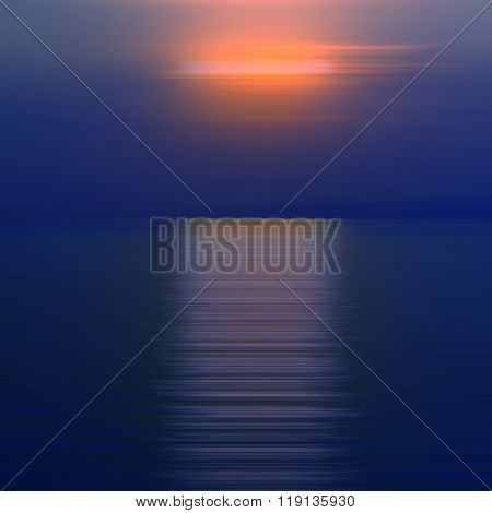 Abstract background motion blurred of refraction in water with sunset on the sea at twilight times.
