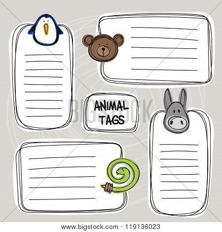 Vector Set Of Hand Drawn Funny Doodle Tags With Animals, Sketch Style.