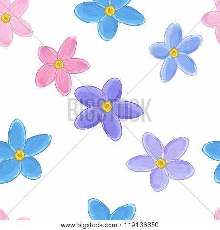 Seamless forget-me-not pattern