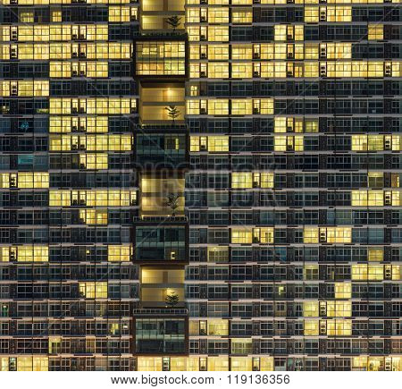 Balcony Pattern Of Building At Night