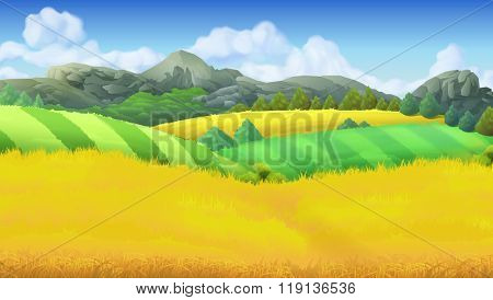 Farm landscape vector background
