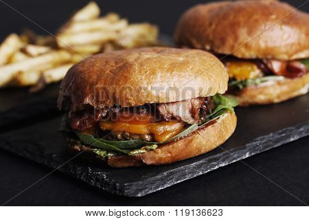 Delicious burger on the table