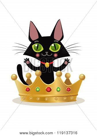Vector Illustration On A White Background. Kitten Internet Meme. Cat Crown Emoji. Cat Crown Hat. Cat In The Crown. Cat And Crown Emoji. Cat King Model. Cat King Costume. Miraculous Cat. Vector Cat.