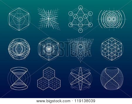 Sacred Geometry Symbols And Elements Set.