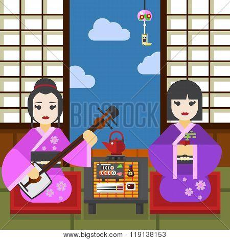 Two Geisha tea ceremony