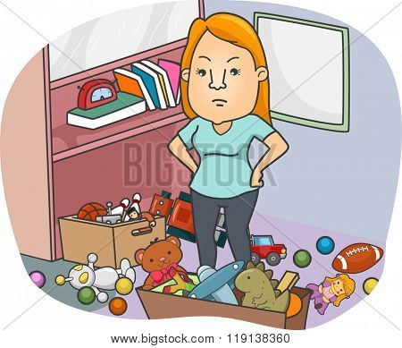 Illustration of a Girl Annoyed at the Toys Scattered Around Her