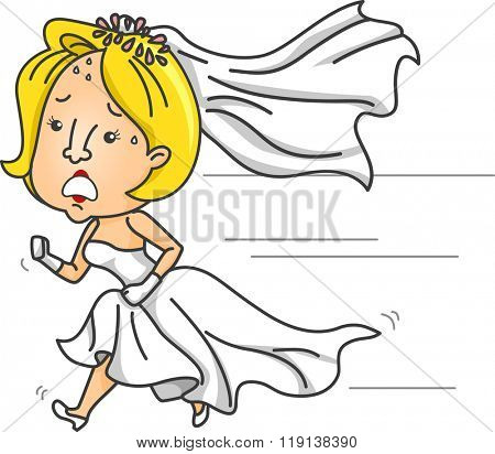 Illustration of an Anxious Bride Running While Wearing a Wedding Gown