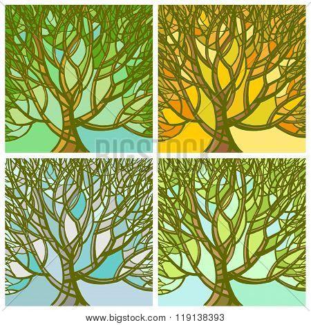 Stylized Abstract Seasons Tree.