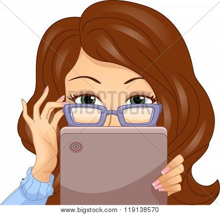 Illustration of a Girl in Glasses Taking a Peek from Behind Her Tablet